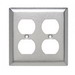 Pass & Seymour SL82 2-Gang Duplex Receptacle Wallplate; Wall Mount, Stainless Steel, Silver