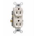 Pass & Seymour CR15-LA Double Pole Straight Blade Duplex Receptacle; Wall Mount, 125 Volt AC, 15 Amp, Light Almond