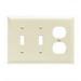 Pass & Seymour TP28-I trademaster® 3-Gang Standard-Size Combination Wallplate; Wall Mount, Thermoplastic Nylon, Ivory