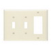 Pass & Seymour TP226-LA trademaster® 3-Gang Standard-Size Combination Wallplate; Wall Mount, Thermoplastic Nylon, Light Almond