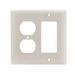 Pass & Seymour TP826-LA trademaster® 2-Gang Standard-Size Combination Wallplate; Wall Mount, Thermoplastic Nylon, Light Almond