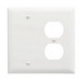 Pass & Seymour TP138-W trademaster® 2-Gang Standard-SizeCombination Wallplate; Wall Mount, Thermoplastic Nylon, White