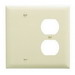 Pass & Seymour TP138-I trademaster® 2-Gang Standard-SizeCombination Wallplate; Wall Mount, Thermoplastic Nylon, Ivory