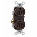 Pass & Seymour TR20 Tamper Resistant Double Pole Duplex Receptacle; Wall Mount, 125 Volt AC, 20 Amp, Brown