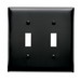 Pass & Seymour TP2-BK tradeMaster® 2-Gang Standard-Size Toggle Switch Wallplate; Wall Mount, Thermoplastic Nylon, Black