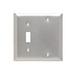 Pass & Seymour SS113 2-Gang Standard-Size Combination Wallplate; Box Mount, Stainless Steel, Silver