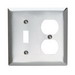 Pass & Seymour SS18 2-Gang Standard-Size Combination Wallplate; Wall Mount, Stainless Steel, Silver