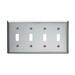 Pass & Seymour SS4 4-Gang Standard-Size Toggle Switch Wallplate; Wall Mount, Stainless Steel, Silver