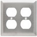 Pass & Seymour SS82 2-Gang Duplex Receptacle Wallplate; Wall Mount, Stainless Steel, Silver