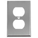 Pass & Seymour SS8 1-Gang Duplex Receptacle Wallplate; Wall Mount, Stainless Steel, Silver