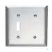 Pass & Seymour SS114 2-Gang Standard-Size Combination Wallplate; Strap Mount, Stainless Steel, Silver