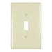 Pass & Seymour TPJ1-I tradeMaster® 1-Gang Jumbo-Size Toggle Switch Wallplate; Wall Mount, Thermoplastic, Ivory