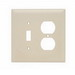 Pass & Seymour TPJ18-I trademaster® 2-Gang Jumbo-Size Combination Wallplate; Wall Mount, Thermoplastic Nylon, Ivory