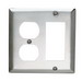 Pass & Seymour SS826 2-Gang Standard-Size Combination Wallplate; Wall Mount, Stainless Steel, Silver