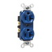 Pass & Seymour 5362-BL Double Pole Straight Blade Duplex Receptacle; Wall Mount, 125 Volt, 20 Amp, Blue