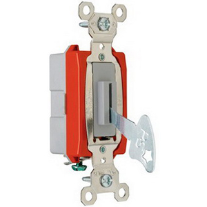 Pass & Seymour PS20AC1-L Extra Heavy Duty Grade Locking Toggle Switch 1-Pole  120/277 Volt AC  20 Amp  Gray