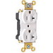 Pass & Seymour PT5362-AW PlugTail™ Double Pole Duplex Receptacle; Wall Mount, 125 Volt, 20 Amp, White