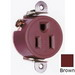 Pass & Seymour 5258 Double Pole Short Strap Single Receptacle; Wall Mount, 125 Volt AC, 15 Amp, Brown