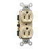 Pass & Seymour 5262-I Double Pole Straight Blade Duplex Receptacle; Wall Mount, 125 Volt, 15 Amp, Ivory