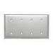 Pass & Seymour SS44 4-Gang Standard-Size Mounted Blank Wallplate; Strap Mount, Stainless Steel, Silver