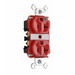 Pass & Seymour 8300-RED Double Pole Duplex Receptacle; Wall Mount, 125 Volt, 20 Amp, Red