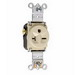 Pass & Seymour 5871-I Double Pole Single Receptacle; Wall Mount, 250 Volt AC, 20 Amp, Ivory