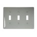Hubbell Wiring NP3GY 3-Gang Standard-Size Toggle Switch Wallplate; Screw Mount, Nylon, Gray