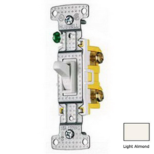 Hubbell Wiring RS115LA tradeSelect® General Purpose Two Position Toggle Switch; 1-Pole, 120 Volt AC, 15 Amp, Light Almond
