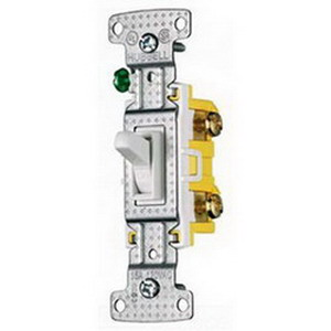 Hubbell Wiring RS315W tradeSelect® Two Position 3-Way Toggle Switch; 1-Pole, 120 Volt AC, 15 Amp, White