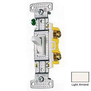 Hubbell Wiring RS315LA tradeSelect® Two Position 3-Way Toggle Switch; 1-Pole, 120 Volt AC, 15 Amp, Light Almond