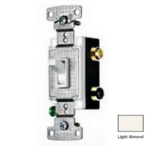 Hubbell Wiring RS415LA tradeSelect® Two Position 4-Way Toggle Switch; 2-Pole, 120 Volt AC, 15 Amp, Light Almond