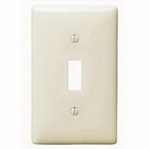 Hubbell Wiring NP1LA 1-Gang Standard-Size Toggle Switch Wallplate; Screw Mount, Nylon, Light Almond