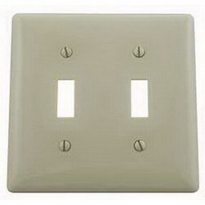 Hubbell Wiring NP2I 2-Gang Standard-Size Toggle Switch Wallplate; Screw Mount, Nylon, Ivory