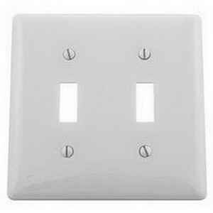 Hubbell Wiring NP2W 2-Gang Standard-Size Toggle Switch Wallplate; Screw Mount, Nylon, White