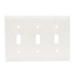 Hubbell Wiring NP3W 3-Gang Standard-Size Toggle Switch Wallplate; Screw Mount, Nylon, White