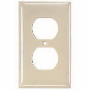 Hubbell Wiring NP8LA 1-Gang Standard-Size Duplex Receptacle Wallplate; Screw Mount, Nylon, Light Almond