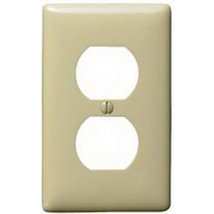 Hubbell Wiring NP8I 1-Gang Standard-Size Duplex Receptacle Wallplate; Screw Mount, Nylon, Ivory