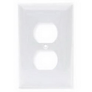 Hubbell Wiring NP8W 1 Gang Standard-Size Duplex Receptacle Wallplate; Screw Mount, Nylon, White