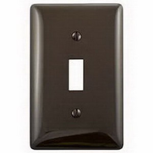 Hubbell Wiring NP1 1-Gang Standard-Size Toggle Switch Wallplate; Screw Mount, Nylon, Brown