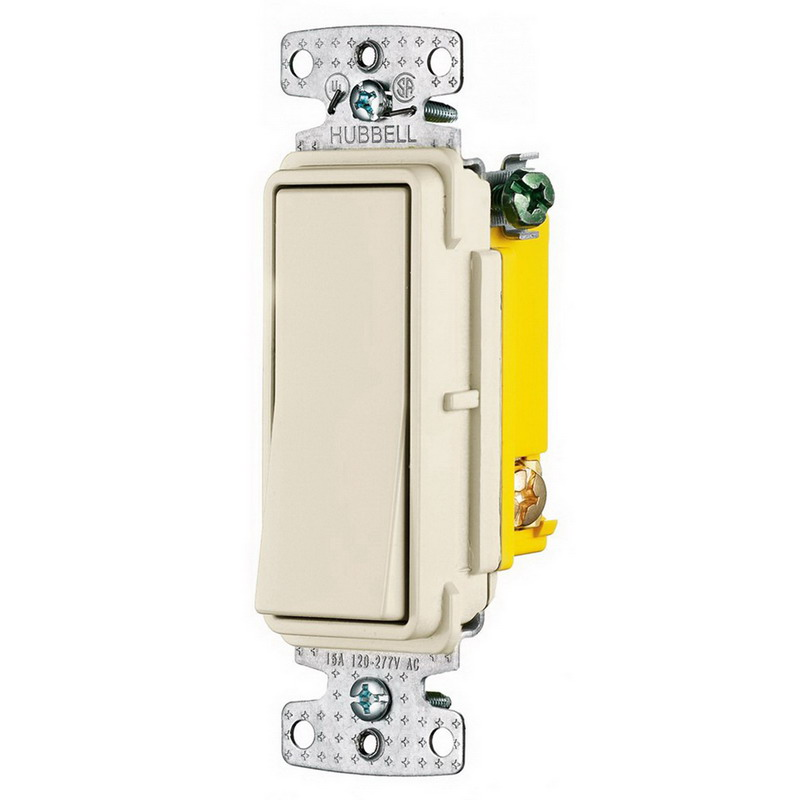Hubbell Wiring RSD115LA tradeSelect&reg Two Position Decorator Quiet Switch 1-Pole  120 - 277 Volt AC  15 Amp  Light Almond