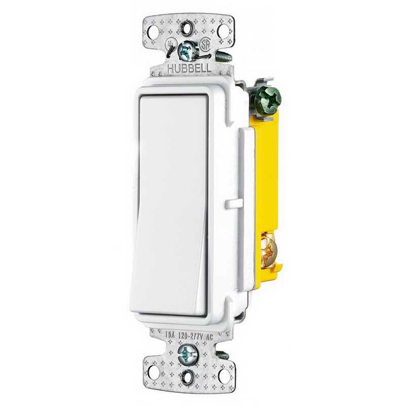 Hubbell Wiring RSD115W tradeSelect® Two Position Decorator Quiet Switch; 1-Pole, 120 - 277 Volt AC, 15 Amp, White