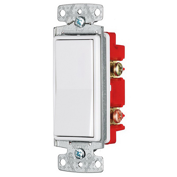 Hubbell Wiring RSD415W tradeSelect® Two Position 4-Way Decorator Quiet Switch; 2-Pole, 120 - 277 Volt AC, 15 Amp, White