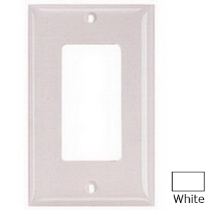 Hubbell Wiring NP26W Netselect® tradeSELECT® 1-Gang Standard-Size GFCI Decorator Face Plate; Screw Mount, Nylon, White