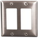 Hubbell Wiring SS262 Style Line® 2-Gang Standard-Size GFCI Decorator Wallplate; Screw Mount, Stainless Steel, Silver