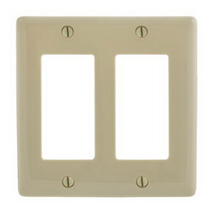 Hubbell Wiring NP262I Netselect® tradeSELECT® 2-Gang Standard-Size GFCI Decorator Face Plate; Screw Mount, Nylon, Ivory