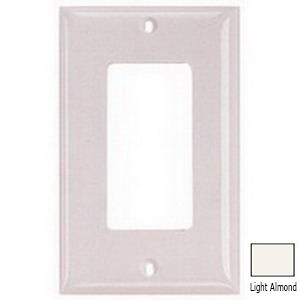 Hubbell Wiring NP264LA Netselect® tradeSELECT® 4-Gang Standard-Size GFCI Decorator Face Plate; Screw Mount, Nylon, Light Almond