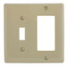 Hubbell Wiring NP126I Homeselect™ 2-Gang Standard-Size Combination Wallplate; Screw Mount, Nylon, Ivory