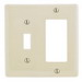 Hubbell Wiring NP126LA Homeselect™ 2-Gang Standard-Size Combination Wallplate; Screw Mount, Nylon, Light Almond