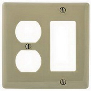 Hubbell Wiring NP826I Homeselect™ 2-Gang Standard-Size Combination Wallplate; Screw Mount, Nylon, Ivory