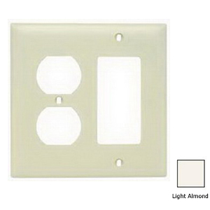 Hubbell Wiring NP826LA Homeselect™ 2-Gang Standard-Size Combination Wallplate; Screw Mount, Nylon, Light Almond
